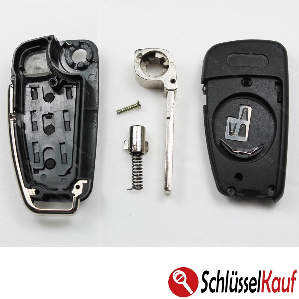 2X  Klapp Schlüssel Gehäuse AUDI A2 A3 A4 A6 TT S4 S6 3 Tasten Fernbedienung